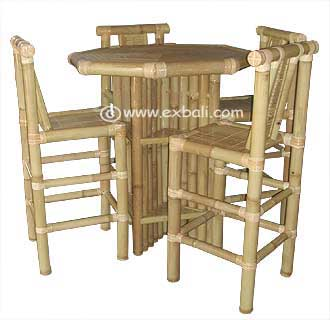 Bamboo High Bar Table and Chairs