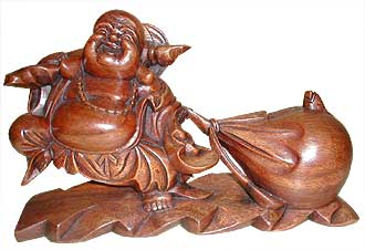 Fortune Buddha wood carving