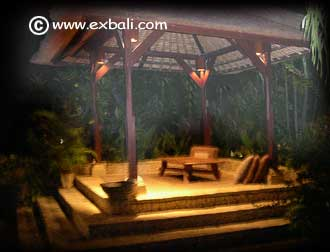 Balinese gazebo with night lighting