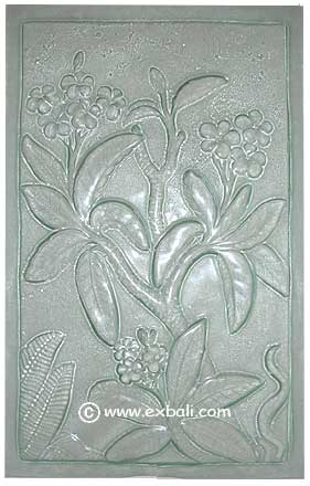 Frangipani motif glass panel