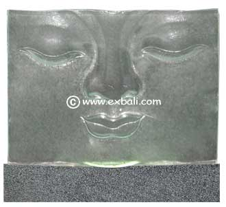 Buddha glass panel on stone base