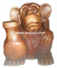 Carved wooden monkey statue