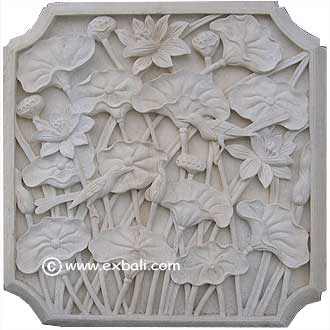 Stone relief with lotus and birds