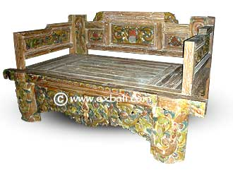 carved painted antique teak daybed
