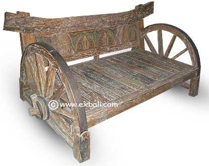 "Rustic recycled teak ""Wheel' bench"
