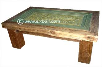 Recycled teak coffee table with glass