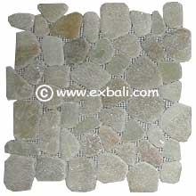 Pebble mesh tiles and mosaic flooring products