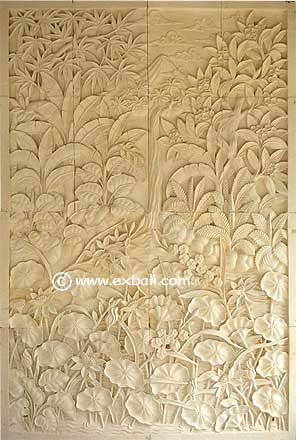 Sone carved wall mural with mountain scene