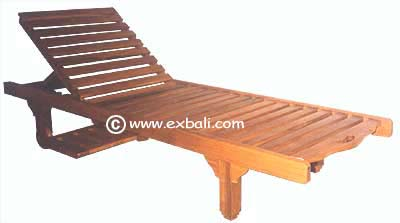 Teak sun lounger with tray