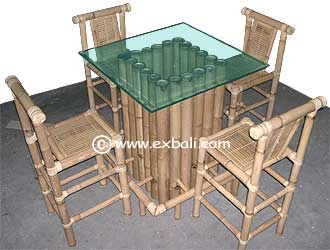 Bamboo Bar table with Chairs
