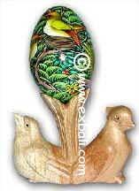Painted Egg on Bird Stand From Bali