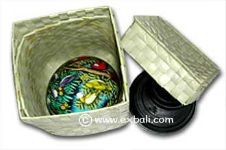 Ostrich Egg in pandan Box with Stand