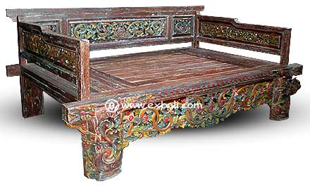 Lovely Teak Daybed Carved Painted Made From Recycled Teak